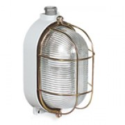 Bulkhead lamp (oval, with protective cage)